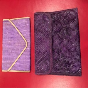 Purple & orchid straw clutch purses set of 2- EUC